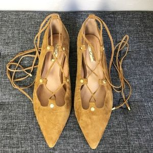 EUC Nordstrom Halogen Brown Lace Up Flats Size 8